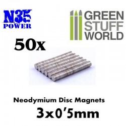 IMAN DE NEODIMIO 3 x 1 mm. N35 (50 Uds.)