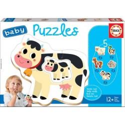EDUCA BABY PUZZLE_ ANIMALES SALVAJES (5 Puzzles de 4 o 5 piezas)