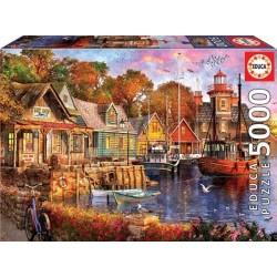 Educa 18015_ Atardecer en el puerto. Puzzle 5000 piezas