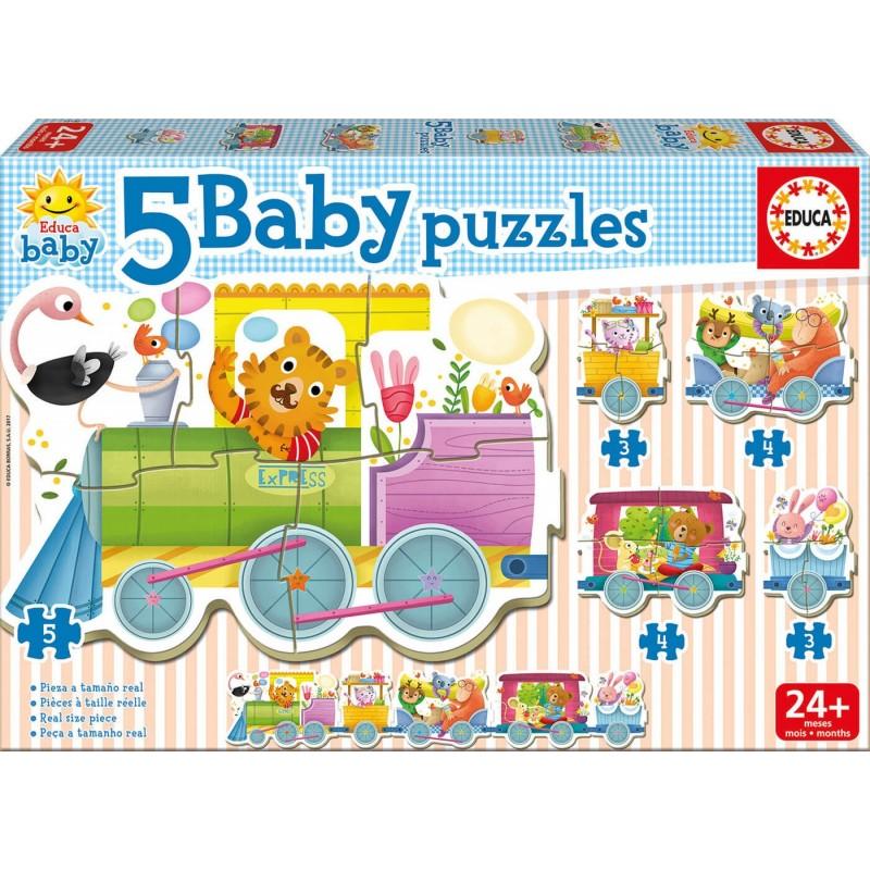 EDUCA BABY_ PUZZLE TREN ANIMALES 2 AÑOS