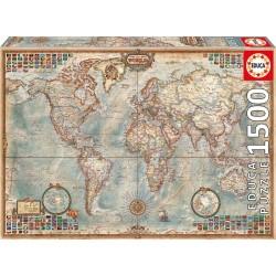 Educa 16005_ El mundo. Mapa Político_ Puzzle 1500pcs.