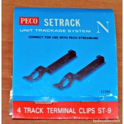 Peco_ 4 TRACK TERMINAL CLIPS ST-9. CONEXIÓN VÍAS. ESCALA N
