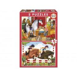 Educa_ Cuidando Caballos PUZZLE 2 x 48 piezas
