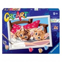 Creart. Colorea por números. Dos gatitos