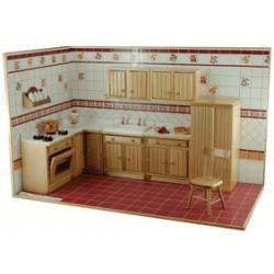 creal 27350. Cocina color madera pino x 7 pcs._1/12