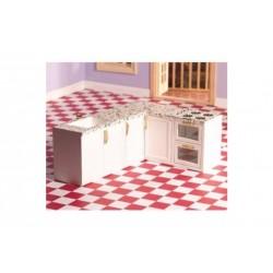 Dollhouse 4426_  Cocina blanca en L de una pieza 1/12