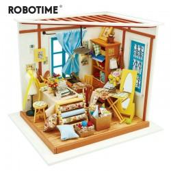 robotime dg101_ Diy Miniature House_ La Habitación de costura de Lisa 1/24