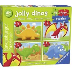 My first Puzzles 07301_  Jolly Dinos..._ 4 Puzzles progresivos  18 meses