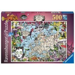 Ravensburger_ Mapa Europeo Quirky Circus. Puzzle 500 piezas.