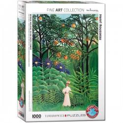 Eurographics_ Mujer Caminando en un Bosque Exótico (Henri Rousseau). Puzzle 1000 piezas
