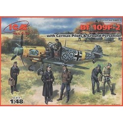 ICM_Bf 109F-2 WITH GERMAN PILOTS &GROUND PERSONNEL_1/48