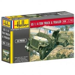 HELLER_ US 1/4 TON TRUCK & TRAILER_ 1/72