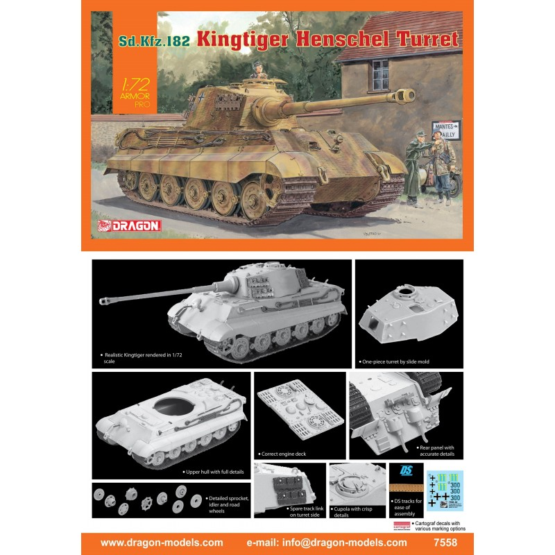DRAGON_ KING TIGER HENSCHEL TURRET Sd.Kfz.182_ 1/72 ARMOR PRO