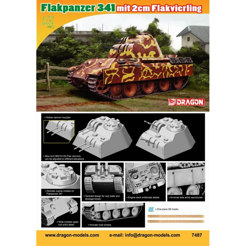 DRAGON_ FLAKPANZER 341. MIT 2cm FLAKVIERLING_ 1/72 ARMOR PRO