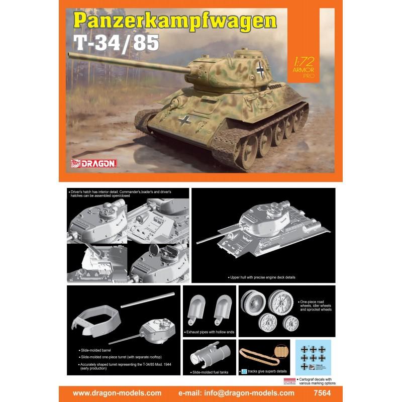 DRAGON_ T-34/85 PANZERKAMPFWAGEN_ 1/72 ARMOR PRO