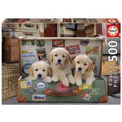 Educa_ Cachorros en el equipaje_ Puzzle 500pcs.