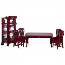 PETIT HOUSE_ COMEDOR COLONIAL COLOR CAOBA_ 1/12